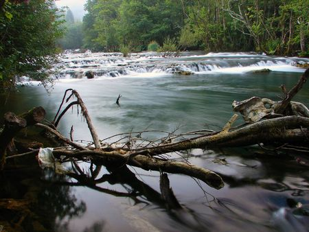 fresh water of clean wild river with waterfall in nature Stock Photo - 5394688