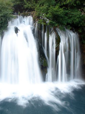 hercegovina: fresh water of clean wild river with waterfall in nature Stock Photo