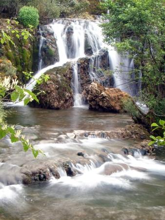 agua dulce del río limpio silvestre con cascada en la naturaleza Foto de archivo