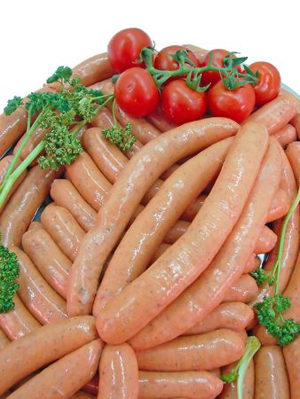 fresh sausages isolated on plate photo