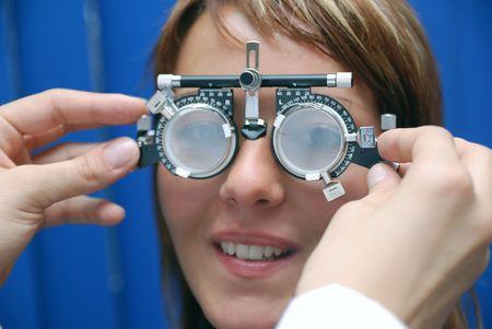 oculist: patient at oculist Stock Photo