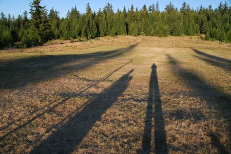 family chain concpet with four shadows in field photo