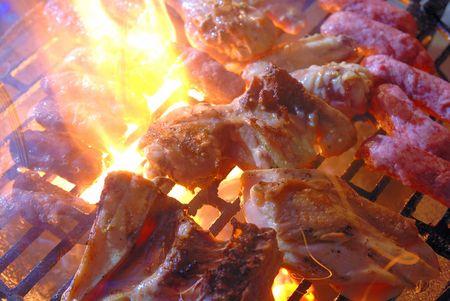 chicken grill fire barbecue photo