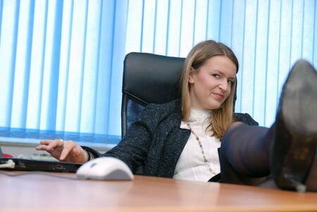 business woman team  work  on laptop computer at office photo