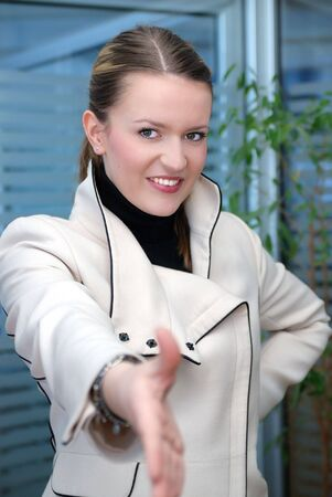 concpet: business woman hand shake and success in business concpet