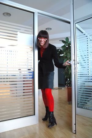 open  women: happy business woman  in office  have fun and smile