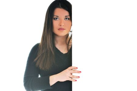 woman wall isolated copyspace boardad Stock Photo - 5294145