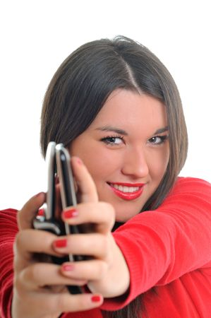 young beautiful woman in red talk on cellphone isolated photo