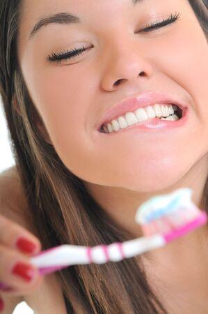 woman tooth brush teeth white smile photo