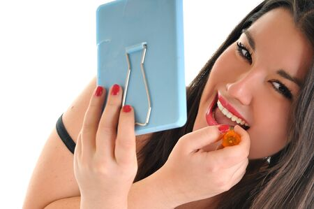 woman lipstick makeup face beauty fashion treatment photo