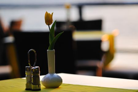 modern restaurant table outdoor at sea  photo
