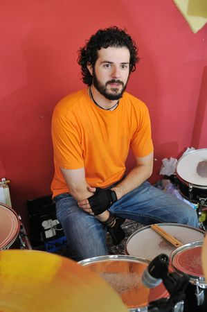 drums music player at home garage on training and practice photo