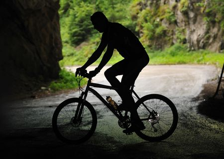 healthy lifestyle and fitness concept with mount bike man outdoor Stock Photo - 5463231
