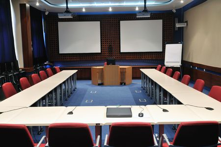video conference room with chairs and big board  projector canvas and computer Stock Photo - 5478918