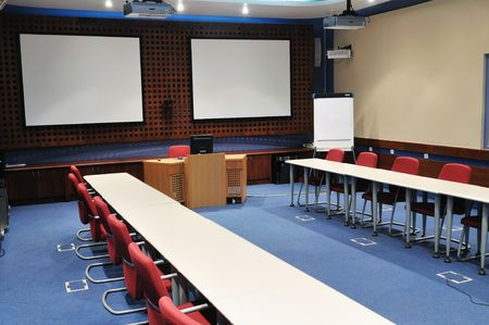 video conference room with chairs and big board  projector canvas and computer Stock Photo - 5478908