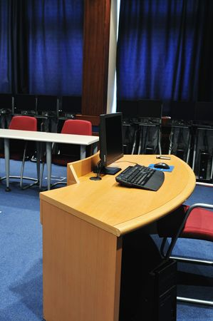 video conference room with chairs and big board  projector canvas and computer Stock Photo - 5478915