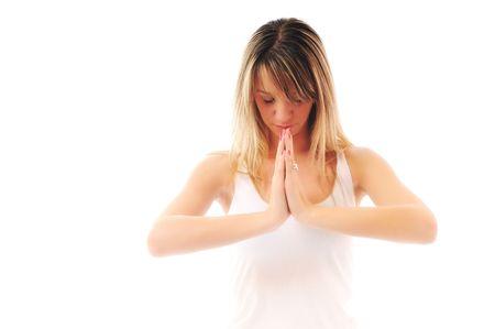 adn: uno de los j�venes encajan a mujer en camisa blanca, meditando y ejercicio yoga aislado