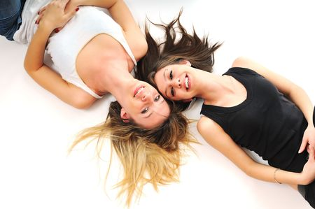 two young girl lesbian friend isolated happy on white background
