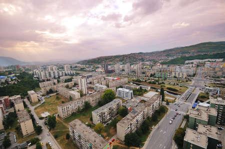 sarajevo: arial architecture sarajevo cityscape from bosmal bigest building on balcan