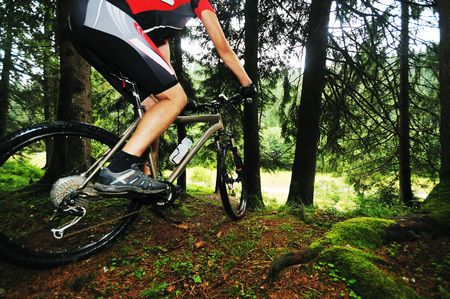 racing bike: healthy lifestyle and fitness concept with mount bike man outdoor Stock Photo