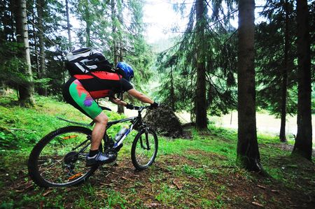 mountainbike: healthy lifestyle and fitness concept with mount bike man outdoor Stock Photo