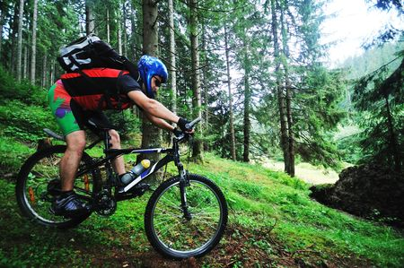 mountain biking: healthy lifestyle and fitness concept with mount bike man outdoor Stock Photo