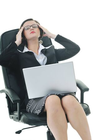 pms: young business woman isolated on white with head pain and problems Stock Photo