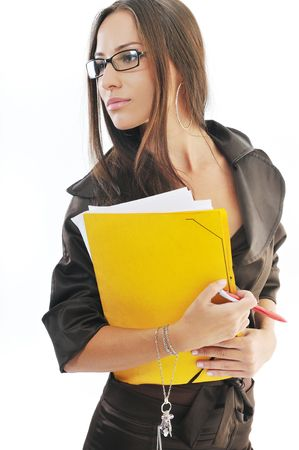 young business woman hold folders papers and documents  photo