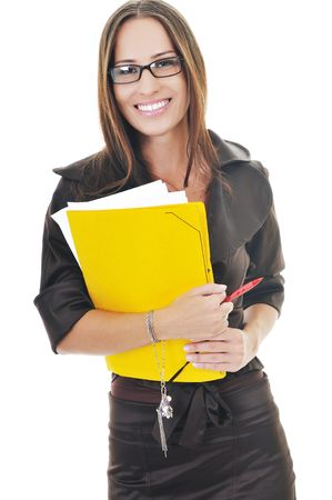 modern girl: young business woman hold folders papers and documents
