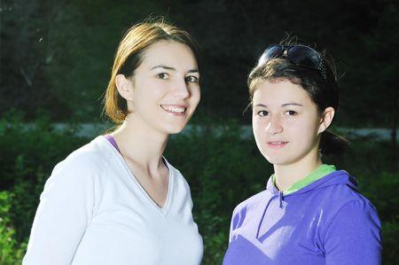 happy teen girls group outdoor have fun Stock Photo - 5897452