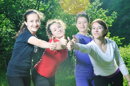 happy teen girls group outdoor have fun Stock Photo - 5897449