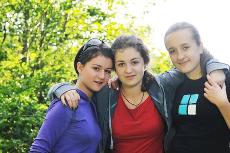 happy teen girls group outdoor have fun Stock Photo - 5897456