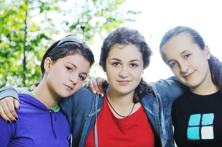 happy teen girls group outdoor have fun Stock Photo - 5897448