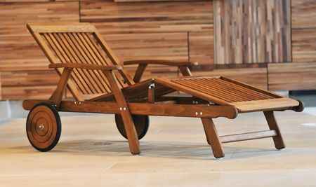 swimming pool wooden chair or bed  photo