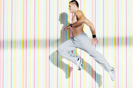 fit man: one young healthy man exercice fitness recreation and yoga indoor