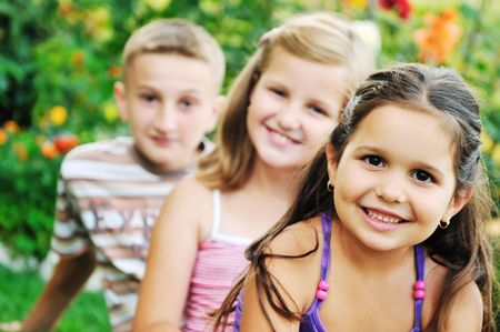 team group of happy child outdoor in nature have fun Stock Photo - 5857461