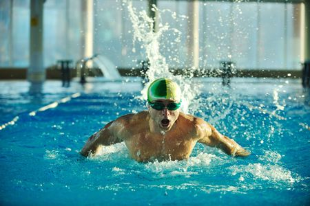 health and fitness lifestyle concept with young athlete swimmer recreating  on olimpic pool Stock Photo - 5968567