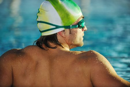health and fitness lifestyle concept with young athlete swimmer recreating  on olimpic pool Stock Photo - 5968616