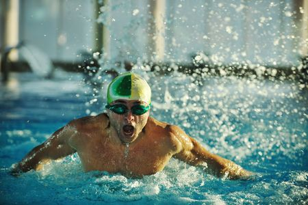 health and fitness lifestyle concept with young athlete swimmer recreating  on olimpic pool Stock Photo - 5968572