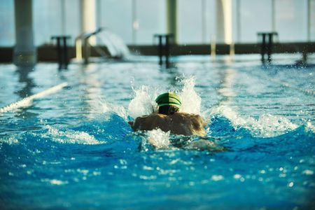 health and fitness lifestyle concept with young athlete swimmer recreating  on olimpic pool Stock Photo - 5968599