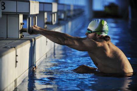 health and fitness lifestyle concept with young athlete swimmer recreating  on olimpic pool Stock Photo - 5968595