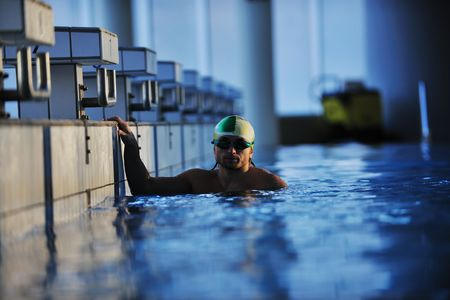 health and fitness lifestyle concept with young athlete swimmer recreating  on olimpic pool Stock Photo - 5968564