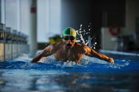 health and fitness lifestyle concept with young athlete swimmer recreating  on olimpic pool Stock Photo - 5968566