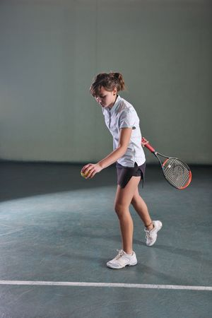 one woman playing tennis sport indoor Stock Photo - 6177837