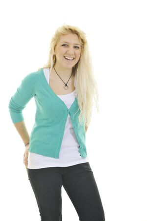 young blond happy teenage girl isolate on white with weight problem Stock Photo - 6228664