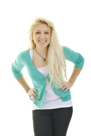 young blond happy teenage girl isolate on white with weight problem Stock Photo - 6228668