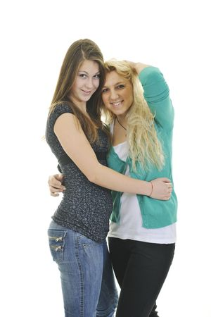 two happy young teenage girl isolated on white Stock Photo - 6228666