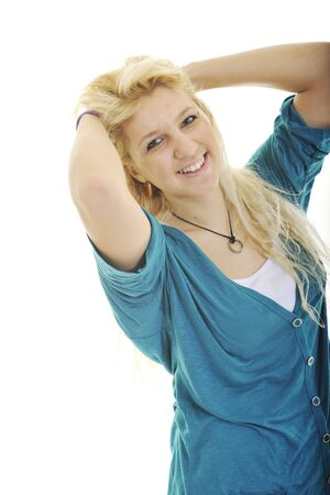 young blond happy teenage girl isolate on white with weight problem photo