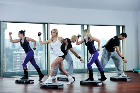 young healthy people group exercise fitness and get fit Stock Photo - 6447041