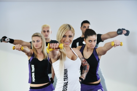 young healthy people group exercise fitness and get fit Stock Photo - 6403371